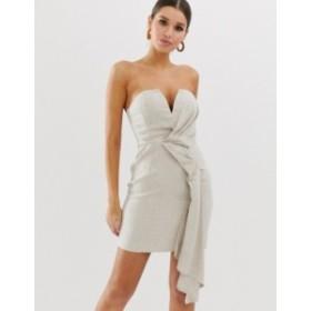エイソス レディース ワンピース トップス ASOS DESIGN bandeau mini dress with drape detail in textured linen Neutral