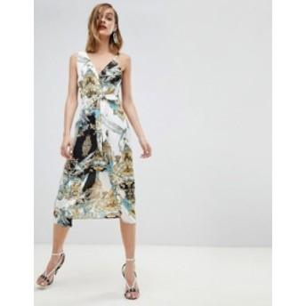 リバーアイランド レディース ワンピース トップス River Island Asymmetric Scarf Print Midi Cami Dress Multi