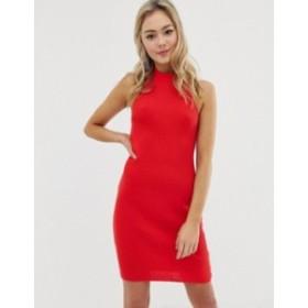 エイソス レディース ワンピース トップス ASOS DESIGN high neck mini bodycon dress with ring back Red