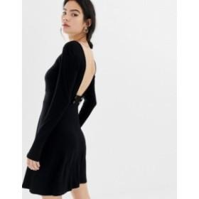 エイソス レディース ワンピース トップス ASOS DESIGN low button back rib skater dress Black