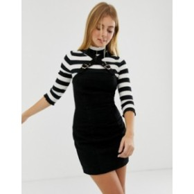 エイソス レディース ワンピース トップス ASOS DESIGN denim dress with buckle detail straps in washed black Washed black
