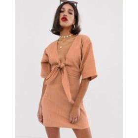 エイソス レディース ワンピース トップス ASOS DESIGN kimono sleeve twist front mini dress in texture Apricot