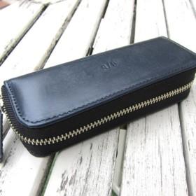 【SALE】コンパクトなプルームテックケース イギリス ブライドルレザー ネイビー ヌメ革