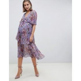 エイソス レディース ワンピース トップス ASOS DESIGN Maternity midi dress with tiered pleats in lilac floral Multi