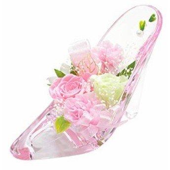 [florence du]プリザーブドフラワー バラ・カーネーションハイヒールアレンジメント ピンク 母の日 ギフト ガラスの靴 花 フラワーギフ