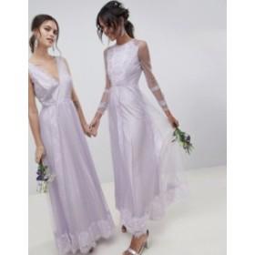エイソス レディース ワンピース トップス ASOS DESIGN Dobby Mesh And Lace Mix Long Sleeve Maxi Dress Lilac