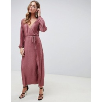 エイソス レディース ワンピース トップス ASOS DESIGN chevron plisse maxi dress with self belt Dusky pink