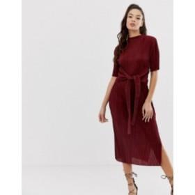 エイソス レディース ワンピース トップス ASOS DESIGN knot front plisse midi dress Oxblood