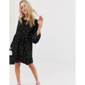 エイソス レディース ワンピース トップス ASOS DESIGN fluted sleeve smock mini dress in multi polka dot  Multi spot