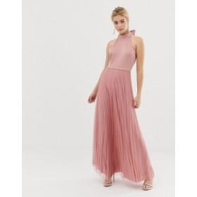 エイソス レディース ワンピース トップス ASOS DESIGN Scuba Top Pleated Tulle Maxi Dress Rose