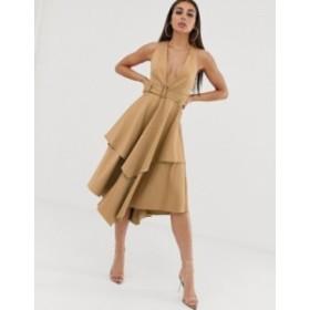 エイソス レディース ワンピース トップス ASOS DESIGN plunge front structured midi dress with layered skirt and belt Gold