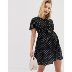 エイソス レディース ワンピース トップス ASOS DESIGN Maternity Nursing mini wrap dress in mono polka dot  Spot