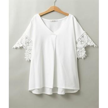 袖レースVネックプルオーバー (Tシャツ・カットソー)(レディース)T-shirts, テレワーク, 在宅, リモート