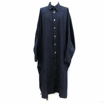 【中古】ワイズ Y's indigo ヨウジヤマモト ワンピース デニム ビッグシャツ ドルマン 長袖 2 インディゴ /KH レディース