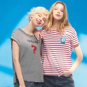 ジュースワッペン付き ボーダーTシャツ D46207
