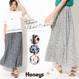 プリーツスカート スカート レディース フラワー柄 春 夏 Honeys ハニーズ 小花プリーツスカート