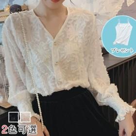 2019年春の新商品の手術のためのフォックス・シースルー・シフォンブラウスの女性フレア袖なしシャツ
