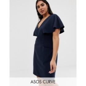 エイソス レディース ワンピース トップス ASOS DESIGN Curve angel sleeve mini pencil dress Navy