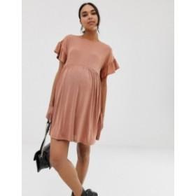 エイソス レディース ワンピース トップス ASOS DESIGN Maternity metallic frill sleeve smock dress Rose