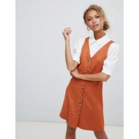 ニュールック レディース ワンピース トップス New Look Suedette Button Through Pinny Rust