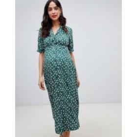 エイソス レディース ワンピース トップス ASOS DESIGN Maternity button through maxi tea dress in ditsy floral print Multi