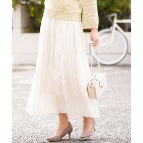 【60%OFF】 アー・ヴェ・ヴェ ビンテージサテンプリーツスカート[WEB限定サイズ] レディース ホワイト XS 【a.v.v】 【セール開催中】