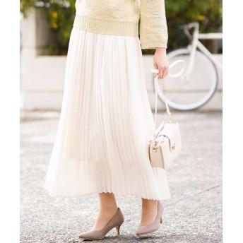 アー・ヴェ・ヴェ ビンテージサテンプリーツスカート[WEB限定サイズ] レディース ホワイト XS 【a.v.v】