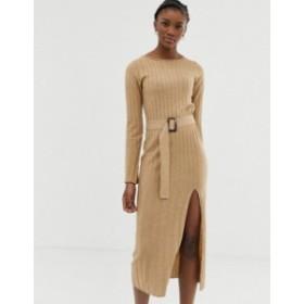 エイソス レディース ワンピース トップス ASOS DESIGN belted knit midi dress with split Camel