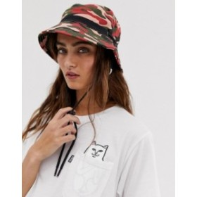 エイソス レディース 帽子 アクセサリー ASOS DESIGN camo fisherman bucket hat with toggle detail Red