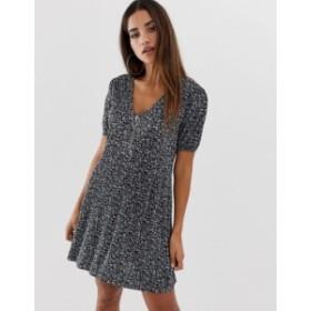 エイソス レディース ワンピース トップス ASOS DESIGN mini plisse swing dress with zip in ditsy print Ditsy print