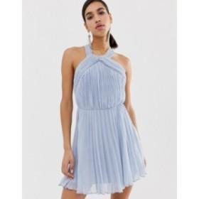 エイソス レディース ワンピース トップス ASOS DESIGN pleated bodice halter mini dress Pale blue