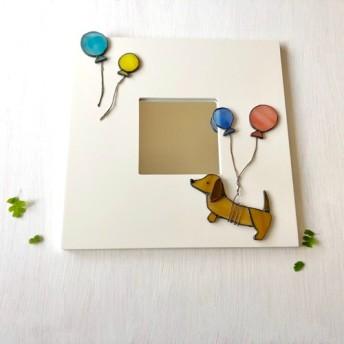 【受注制作】glass dog 壁掛けmirror ダックス