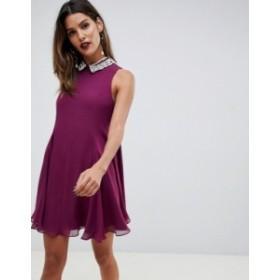 エイソス レディース ワンピース トップス ASOS DESIGN mini swing dress with pearl collar Oxblood