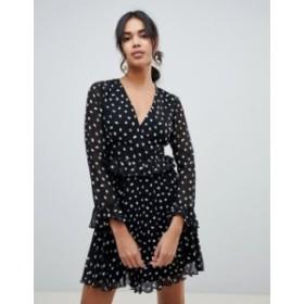 エイソス レディース ワンピース トップス ASOS DESIGN wrap front pleated mini dress in mono spot Multi