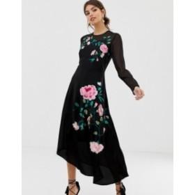 エイソス レディース ワンピース トップス ASOS DESIGN midi dress with floral embroidery and long sleeves Black