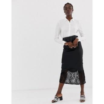 エイソス レディース スカート ボトムス ASOS DESIGN bias cut satin midi slip skirt with lace hem Black
