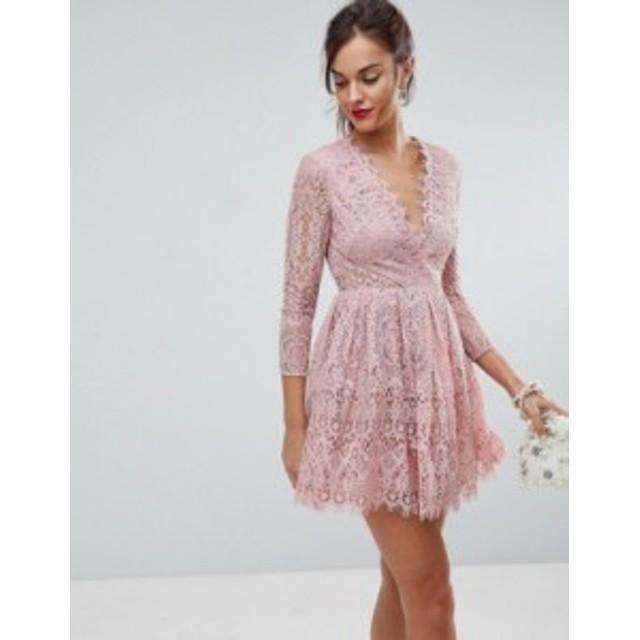エイソス レディース ワンピース トップス ASOS Long Sleeve Lace Mini Prom Dress Dusty pink