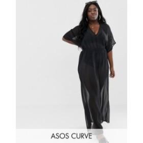 エイソス レディース ワンピース トップス ASOS DESIGN Curve recycled kimono sleeve tie back chiffon maxi beach dress in black Blac