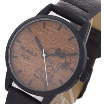 ピーナッツ PEANUTS スヌーピー 腕時計 レディース PNT006-3 ウッドシンプル クォーツ ダークブラウン ブラック