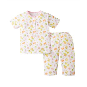 天竺前開き半袖パジャマ(男の子。女の子 子供服) キッズパジャマ