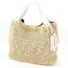 バッグ カバン 鞄 かごバッグ タッセルつきペーパーショルダーカゴバッグ カラー 「アイボリー」