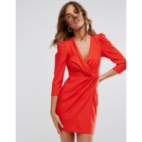 エイソス レディース ワンピース トップス ASOS Wrap Front Mini Dress Red