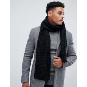 エイソス メンズ マフラー・ストール・スカーフ アクセサリー ASOS DESIGN knitted scarf in black recycled polyester Black