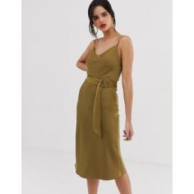 リバーアイランド レディース ワンピース トップス River Island belted slip dress in khaki Green dark