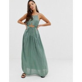 エイソス レディース ワンピース トップス ASOS DESIGN beach maxi dress in crinkle with strappy waist detail Khaki