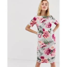 エイソス レディース ワンピース トップス ASOS DESIGN Maternity wiggle midi dress in floral print Pink based floral