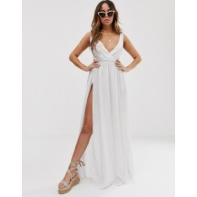 エイソス レディース ワンピース トップス ASOS DESIGN tie back cross front split maxi beach dress in white White