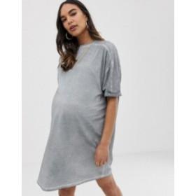 エイソス レディース ワンピース トップス ASOS DESIGN Maternity t-shirt dress with rolled sleeves and wash Stone grey