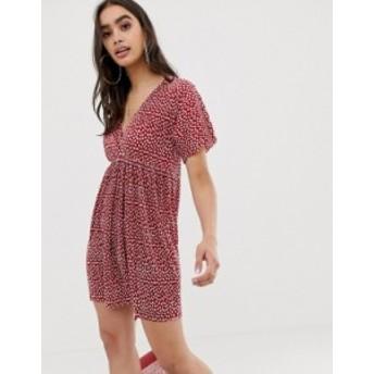エイソス レディース ワンピース トップス ASOS DESIGN wrap front plisse smock dress in polka dot Spot print