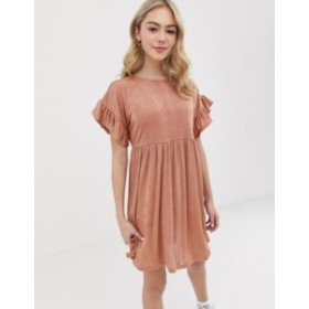 エイソス レディース ワンピース トップス ASOS DESIGN metallic frill sleeve smock dress Rose